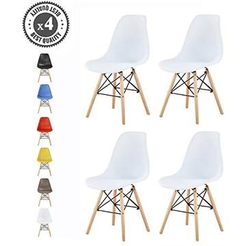 Lot de 4 chaises au Design Moderne de Style scandinave, Lia par MCC (Blanc)