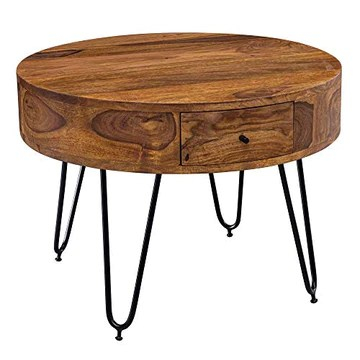 FineBuy Table Basse Sheesham en Bois Massif/Metal 60 x 44,5 x 60 cm | Table d'appoint de Style Moderne | Table de Salon avec Deux tiroirs