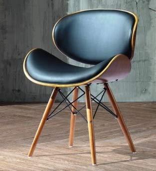 folk Style rétro DSW Simili Cuir Eiffel à Manger Chaise de Bureau en Bois Finitions Noyer (Noir Faux Cuir)