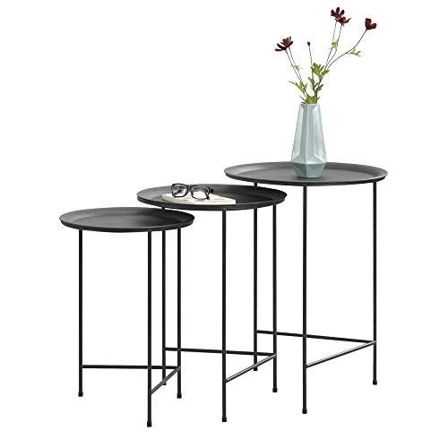 [en.casa] Set de 3 Tables Basses Ensemble de 3 Tables Gigognes Table de Salon Table de Rangement Desserte Métal Noir Tailles Différentes