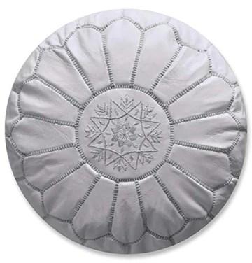 Pouf Artisanal Marocain en Cuir Véritable Fait Main - Vendu Rembourré - Repose-Pied, Coussin de Sol, Ottoman (Blanc)