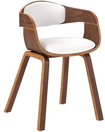 CLP Chaise Retro Kingston Similicuir - Chaise de Salle à Manger avec Accoudoirs Design Scandinave - Siège et Dossier Rembourrés -Couleur: Noyer//Blanc