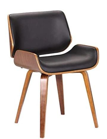 folk Style rétro DSW Simili Cuir Eiffel à Manger Chaise de Bureau en Bois Finitions Noyer (Noir Faux Cuir/Coussin de siège rectangulaire)