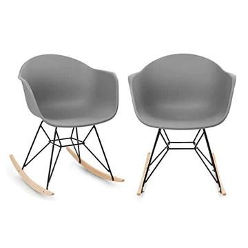 blumfeldt Skandi - 2 fauteuils à Bascule relaxants, Look rétro des années 70, Cadre en Fer, Siège en polypropylène résistant, Véritables Patins en chêne, Résistant aux intempéries, Gris
