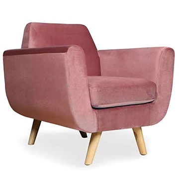 Menzzo Danube Fauteuil, Velours, Rose, 83
