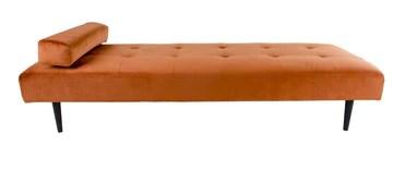 PEGANE Méridienne en Velours Orange piètement en Bois - Dim : 200 x 80 x 38 cm