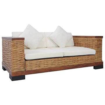 Festnight Canapé d'angle,Canapé Convertibles, Canapé à 2 Places avec Coussins Marron Rotin Naturel pour Salon