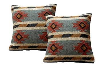iinfinize Lot de 2 housses de coussin en laine de jute rustique Kilim décoratif pour canapé ou chaise avec fermeture éclair
