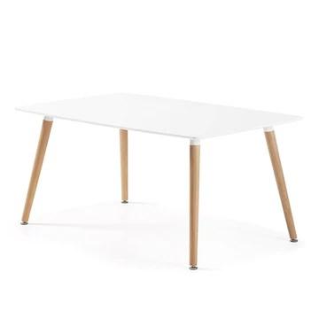 Designetsamaison Table à Manger rectangulaire scandinave Blanche 120cm - Brevik