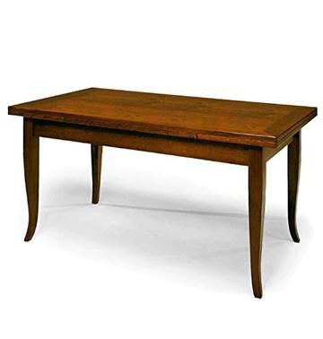 Table Extensible comportant 2 rallonges de 40 cm, Style Classique, en Bois Massif et MDF avec Finition Noyer Brillant - Dim. 180 x 90 x 78