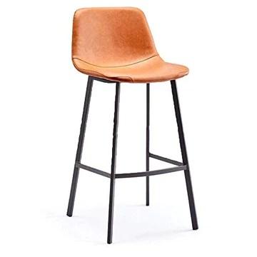 WTT Tabouret de Bar Moderne, Minimaliste, Maison, Chaise, Fer forgé, Tabouret Haut, Cadre en métal, ergonomie (Couleur: Marron)