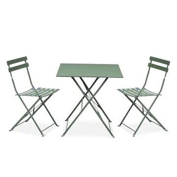 Salon de Jardin bistrot Pliable - Emilia carré Vert de Gris - Table 70x70cm avec Deux chaises Pliantes, Acier thermolaqué