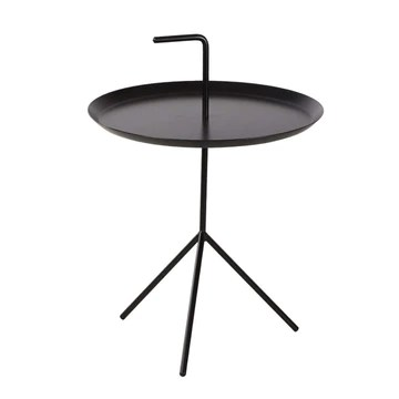 Petite Table Table D'appoint De Bureau, Côté Table De Chevet, Fer Nordique, Facile À Déplacer, Métal Fort, Artisanat Exquis, Beau, Table Basse FENPING (Color : Black, Size : Small)