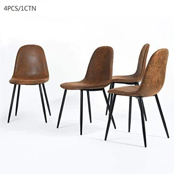 Homy Casa Lot de 4 Chaises 44x44x87cm Scandinave Rétro Vintage en Suède Marron Pied Métal Noir