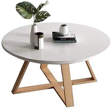 n Bouts de canapé Table Basse Table d'appoint Nordique café en Bois Massif Côté Maison Salon Rond Couleur en Option Tables (Color : White, Size : 70cm)
