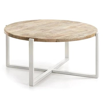 LF - Table basse Iznewam table basse blanc et bois