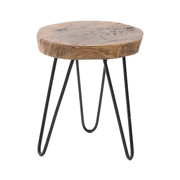 DESIGN DELIGHTS Table Basse en bois massif et métal Ø 34 cm, Hauteur 37 cm