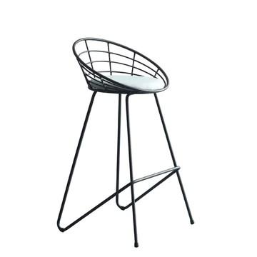 lxn Tabouret de bar Noir de simplicité Moderne, chaises Hautes de Salle à Manger rembourrées avec Tabouret Haut et Dos Creux, Pieds de Coussin en Coton Gris - 1pcs