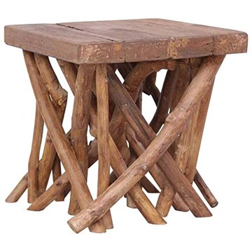 Festnight Table Basse en rondin Table de café de Style Naturel 40x40x40 cm Bois Solide
