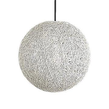 Zqq87 décoration créatif simple Lustre de la maison rotin La lumière Boule Ronde Creative Blanc 30cm A1087