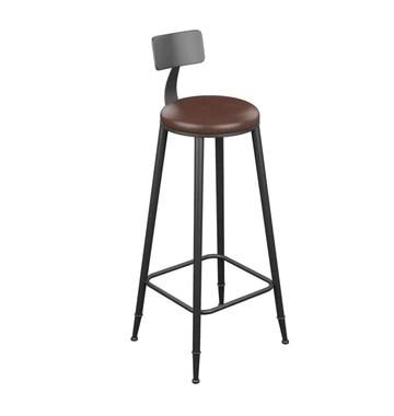 Furniture stool/Hauteur comptoir tabourets métal Tabouret style vintage ronde Bar en fer forgé Tabourets de bar en bois Tabourets for Chaise Cuisines Coussin en cuir noir petit déjeuner