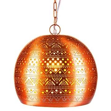 Lampe Suspension Luminaire marocaine Herera 30cm Cuivre E27 Douille | Plafonnier Lustre de Salon marocain oriental | Lanterne électrique indienne Vintage design décoration de maison orientale arabe