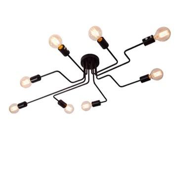 CARYS Plafonnier Lustres Retro Industriel Design Luminaire Plafonnier 8 Lampe de suspension Métal Noir E27 Pour Enfant Chambre Cuisine Salon Couloir Loft