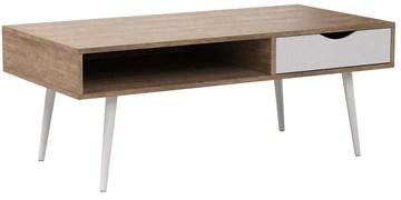 WOLTU® TSG16hei Table Basse en Bois Jambe en métal Table TV avec tiroir et Compartiment Ouvert 120x60x48cm (LxPxH),Chêne