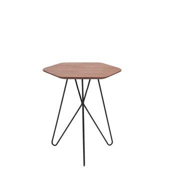 Marque Amazon - Rivet - Table d'appoint hexagonale en noyer et métal noir, 50 x 40 x 46 cm