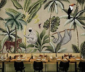 YFXGSTLI Papier Peint Toucan Singe Tropical Papier Peint Mural pour Mur De Mur Murales Murales Peintes À La Main Salon 3D Personnaliser W350xH256cm