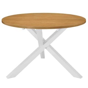 Festnight Table à Dîner Ronde | Table de Salle à Manger en Bois | Table de Cuisine | Table de Salon | 120 x 75 cm Blanc et Marron