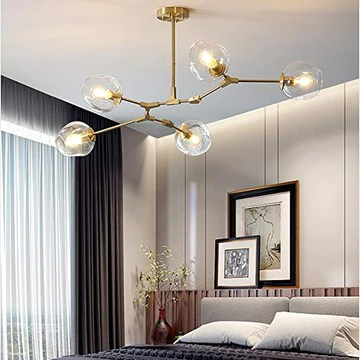 5 Lumière Spoutnik Verre Globe Lustre Éclairage Nordique Brass Brossé E27 Lampe Suspension Pendentif Lampe Molécule Plafonnier Pour Cuisine