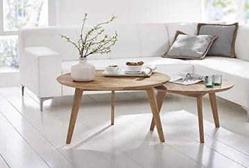 Table basse en bois massif Ø 90 cm - Coeur de hêtre - Inspiration Scandinave - STOCKHOLM