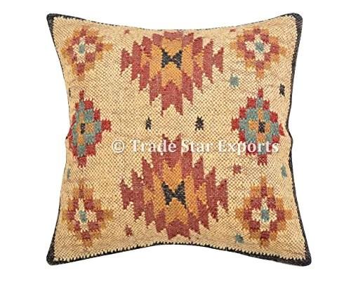 indien tissé main Kilim, coussins, taie d'oreiller 18 x 18 décoratifs, couvre-lit, Boho Taies d'oreiller extérieur Housse de coussin