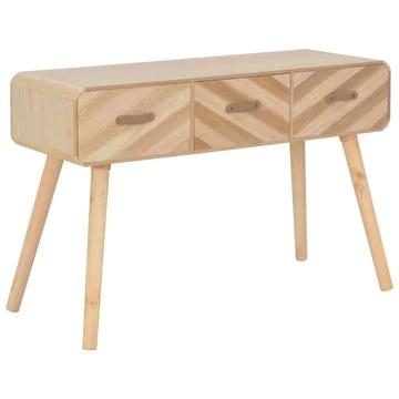 Tidyard Table Console   Table d'entrée   Table d'appoint avec 3 Tiroirs en Bois Massif 100 x 35 x 68 cm