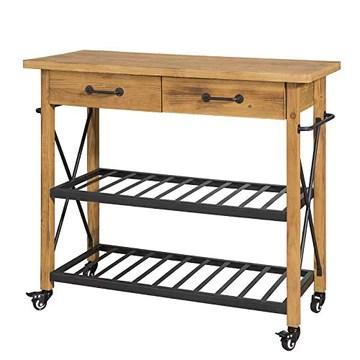 SoBuy® FKW57-N Table Console Chariot de Service Desserte à roulettes Commode Roulant pour Cuisine et Salon 2 tiroirs et 2 étagère