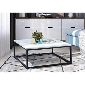 Table Basse Carré MARBRE - Décor MARBRE et Noir - Structure en Métal,Style Industriel,L 80 x P 80 x H 34 cm