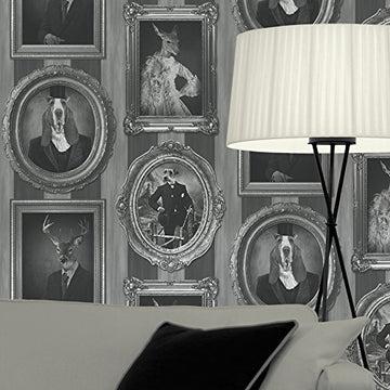 Muriva - Papier Peint Rayures Vintage Chiens Dans Cadres Cerfs Rennes Noir/Blanc/Gris J59309
