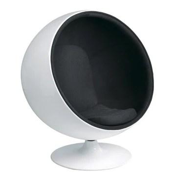 Fauteuil Design Blanc et Noir - Boule