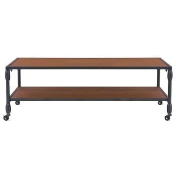 Tidyard Table Basse avec 1 Etagère en Bois de Sapin Style Industriel Marron 120x60x40 cm