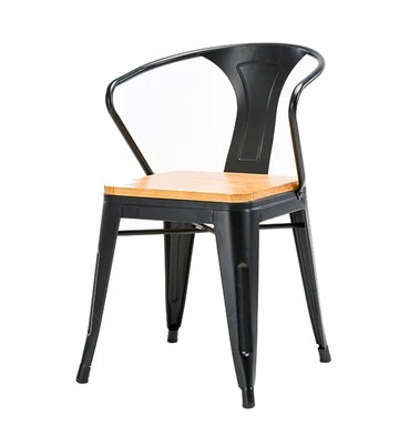 Tabouret de bar bois massif tabouret haut cuisine salle à manger chaise dossier chaise haute loisirs siège rétro table ronde rétro design industriel (Couleur : NOIR)