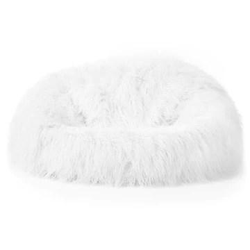 Icon Pouf Classique en Fausse Fourrure Mongole Yeti, Blanc, Poufs de Salon, 85cm x 50cm, Pouf Poire Grand, Chaise pour Chambre