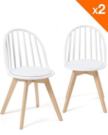KAYELLES chaises scandinaves bistrot avec Coussin Bold Lot de 2 (Blanc)