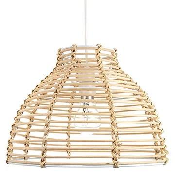 Abat-jour de plafond suspendu en rotin brun clair en osier traditionnel par Happy Homewares