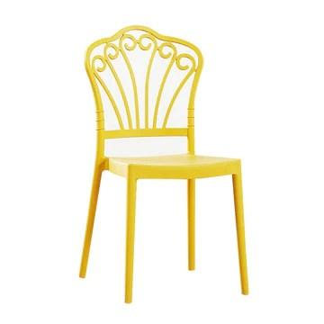 LXQGR Chaise empilable à dossier haut avec accoudoirs, siège en PP et PU de haute qualité, chaise empilable en plein air Bistrot en plein air Restaurant Cafe (Color : Yellow)