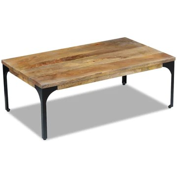 vidaXL Table basse pour salon Table d'appoint Bois de manguier 100 x 60 x 35 cm
