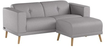 Bobochic LUNA Canapé de 3 places avec Pouf Gris Clair 225 x 93 x 77 cm