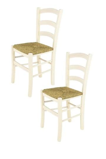 Tommychairs Chaise du Design - Set de 2 chaises Venice pour la Cuisine et la Salle à Manger, avec Structure en Bois, Coleur Aniline Blanche et Assise en Paille