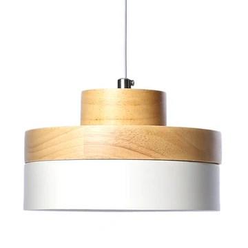 E27 Métal Vintage Suspensions Luminaires Lamps Moderne Plafonnier Luminaire Industriel Retro Suspensions Lumiere Metal et Bois Luminaire éclairage Plafonnier Lustre Lampe (Blanc)