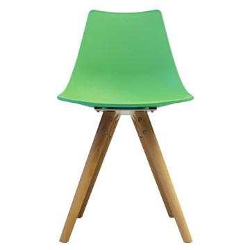 Scandi Retro Style Designer Chaise en plastique avec pieds en bois, menthe poivrée, H: 82cm W: 47.5cm D: 44cm. SEAT HEIGHT 48CM
